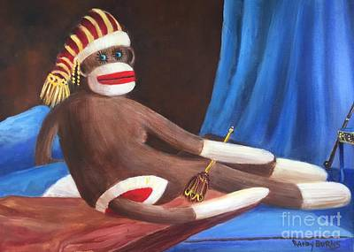 Art Print featuring the painting La Grande Sock Monkey by Randol Burns