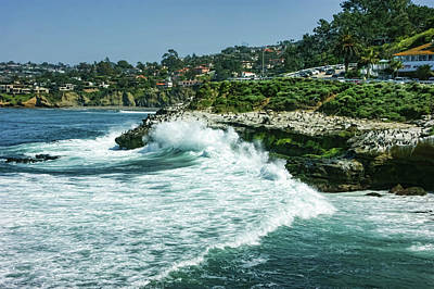 Painting - La Jolla California - Pacific Ocean Power Shaping The Coast by Georgia Mizuleva