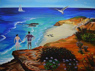 La Jolla Coast With Couple Original by Eric Johansen