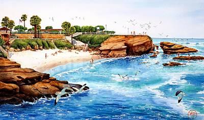 La Jolla Cove Painting - La Jolla Cove by John YATO