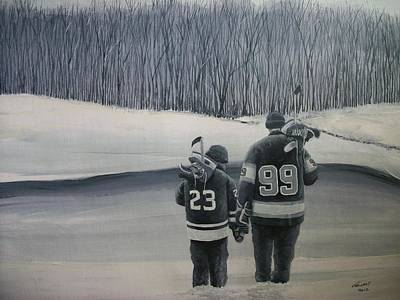 Minor Hockey Painting - La Kings In Black And White by Ron  Genest