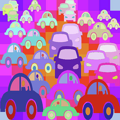 Digital Art - La La Land Commuters by Vagabond Folk Art - Virginia Vivier