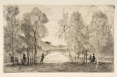 Drawing - La Lac Du Bois De Boulogne  by Felix Bracquemond