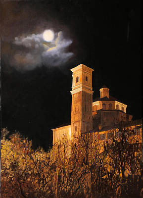 la luna a Cherasco Art Print by Guido Borelli