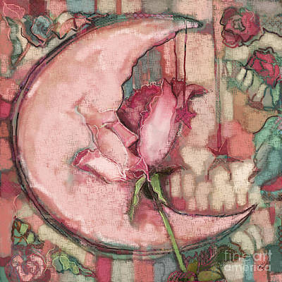 Fabric Collage Painting - La Luna Rosa by Carrie Joy Byrnes