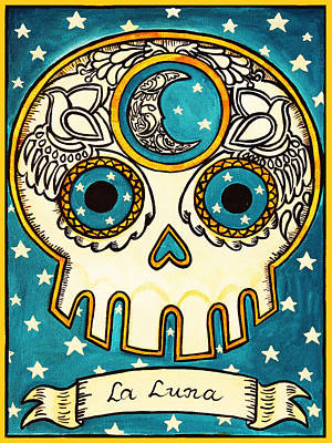 Calavera Painting - La Luna - The Moon by Mix Luera