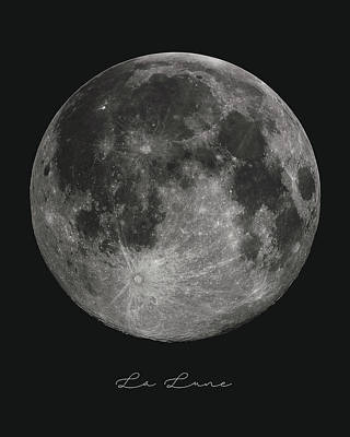 Full Moon Mixed Media - La Lune, The Moon by Studio Grafiikka
