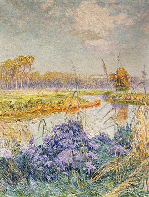 Reflections In River Painting - La Lys by Emile Claus