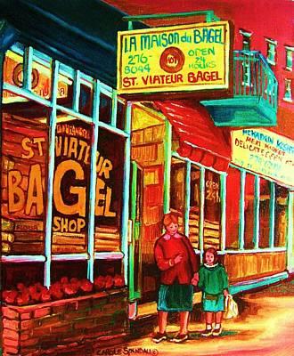 Jewish Montreal Painting - La Maison Du Bagel by Carole Spandau
