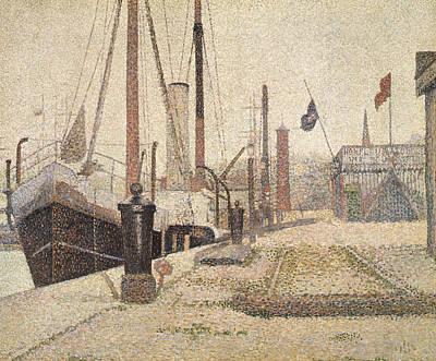 Boats At Dock Painting - La Maria At Honfleur by Georges Pierre Seurat