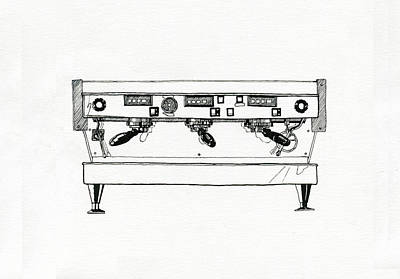 Espresso Drawing - La Marzocco 3 Group by Peter Pullen
