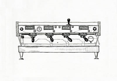 Espresso Drawing - La Marzocco 4 Group by Peter Pullen