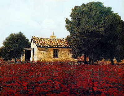Tile Painting - La Masseria Tra I Papaveri by Guido Borelli