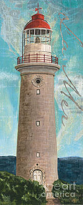 Vintage Map Painting - La Mer Lighthouse by Debbie DeWitt