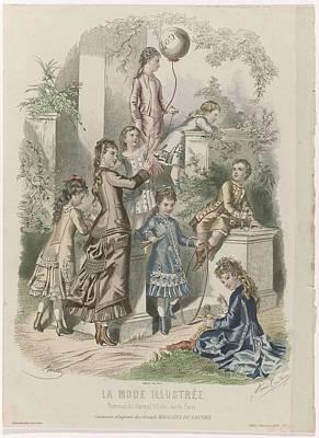 Moody Trees - La Mode Illustree, 1877, No. 21  Costumes d enfants. Reville, Gilquin, 1877 by La Mode Illustree