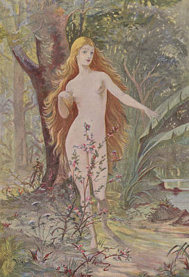 Nudist Painting - La Naissance De La Femme  by French School