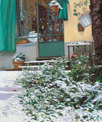 Green Painting - La Neve A Casa by Guido Borelli