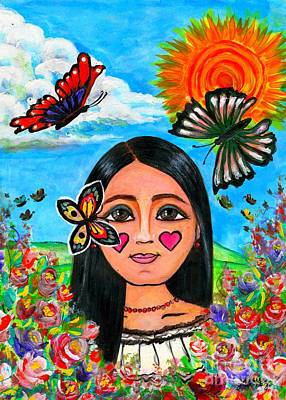 Mexicano Painting - La Nina De Las Mariposas  by Laura  Gomez
