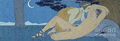 Sexual Lovers Art Drawing - La Nuit by Georges Barbier