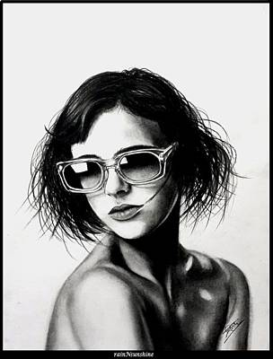 Drawing - La Parisienne by Trinath Sen