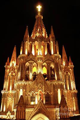 Photograph - La Parroquia At Night San Miguel De Allende Mexico by John  Mitchell