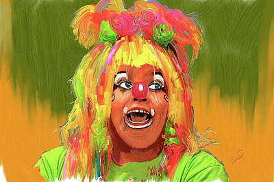 Female Clown Painting - La Payasa Female Clown by Yiries Saad