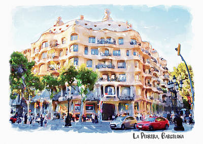 Scenery Mixed Media - La Pedrera Barcelona by Marian Voicu