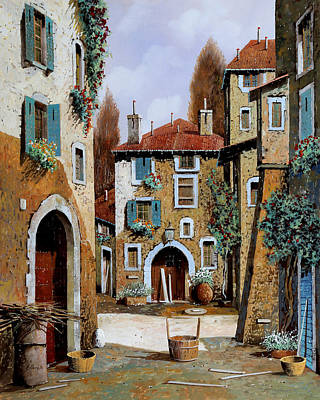 Red Door Painting - La Piazzetta by Guido Borelli