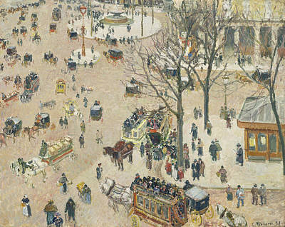 Winter Scene Art Painting - La Place Du Theatre Francais by Camille Pissarro