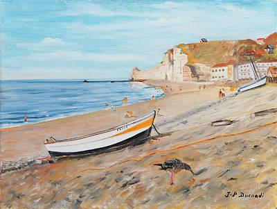 Painting - La Plage A Etretat - France by Jean-Pierre Ducondi