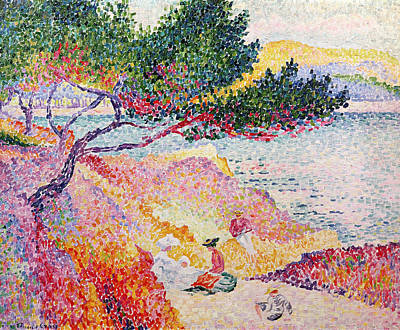 People On The Beach Painting - La Plage De Saint-clair by Henri-Edmond Cross