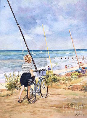 Velo Painting - La Plage - Noirmoutier - Vendee - France by Francoise Chauray