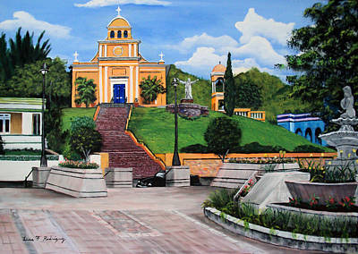 La Plaza De Moca Print by Luis F Rodriguez
