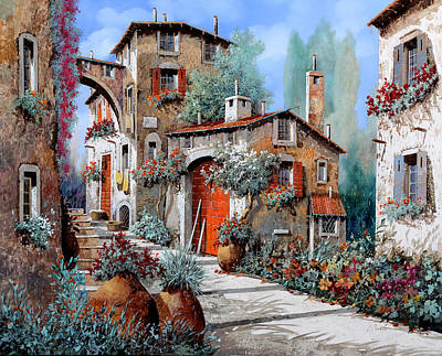 Red Door Painting - La Porta Rossa by Guido Borelli
