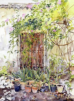 Painting - La Puerta Vieja Y Macetas by Margaret Merry