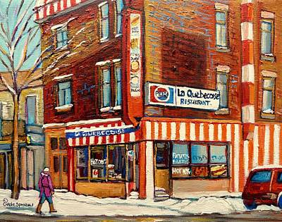 A Hot Summer Day Painting - La Quebecoise Restaurant Deli by Carole Spandau