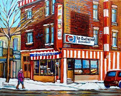 Montreal Winterscenes Painting - La Quebecoise Restaurant Montreal by Carole Spandau