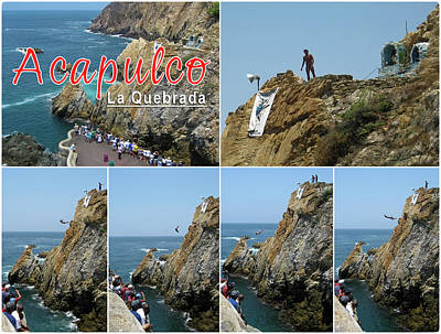 Photograph - La Quebrada Cliff Divers Collage Poster by Tatiana Travelways