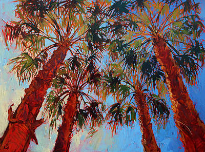 Tree Oil Painting - La Quinta Palms by Erin Hanson