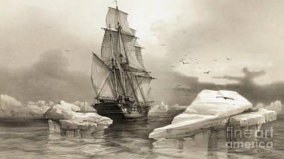 Drawing - La Recherche Near Bear Island, 1838 by Francois Auguste Biard