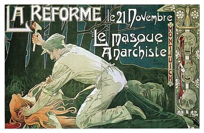 Royalty-Free and Rights-Managed Images - La Reforme - Le Masque Anarchiste - Vintage Advertising Poster by Studio Grafiikka