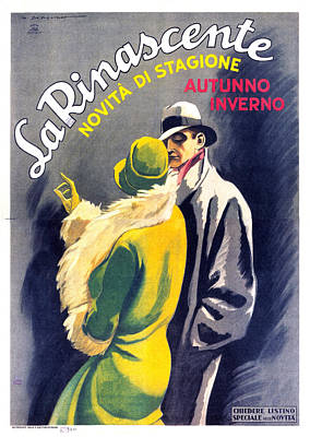 Mixed Media - La Rinascente - Novita Di Stagione - Vintage Fashion Advertising Poster - Fall Winter Collection by Studio Grafiikka