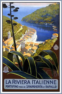 Landscapes Royalty-Free and Rights-Managed Images - La Riviera Italienne - Beautiful Italian Landscape by a lake and mountains - Vintage Travel Poster by Studio Grafiikka