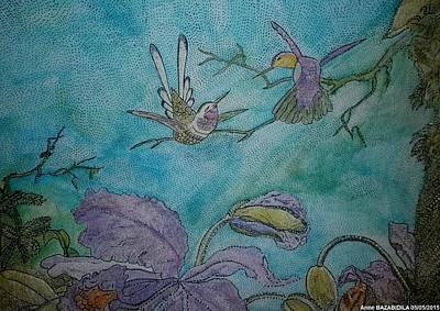 Colibri Painting - La Romanza Los Colibries by Anne Bazabidila