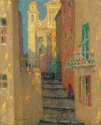 Villefranche Painting - La Rue D'eglise Villefrance-sur-mer by Henri-Eugene le Sidaner