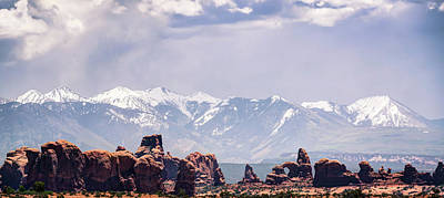 Photograph - La Sal Mountain And Arches Panoramic Landscape Color - Utah by Gregory Ballos