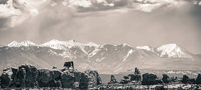 Landscapes Royalty-Free and Rights-Managed Images - La Sal Mountain and Arches Panoramic Landscape - Utah by Gregory Ballos