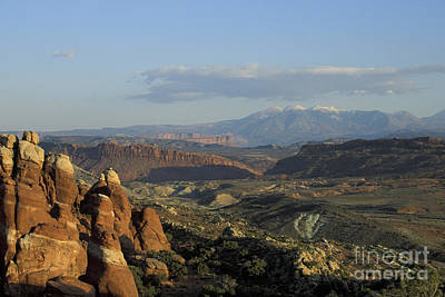 Photograph - La Sal Mountains From Arches by Stan and Anne Foster