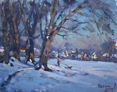 Snow Scene Wall Art - Painting - La Salle Park by Ylli Haruni