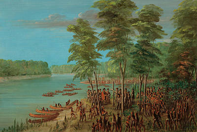 La Salle Taking Possession Of The Land At The Mouth Of The Arkansas Art Print by Mountain Dreams